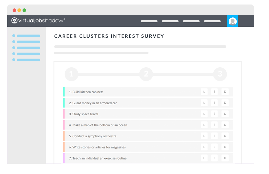 Illustration depicting the virtualjobshadow.com's career and interest assessments tool and career exploration platform.